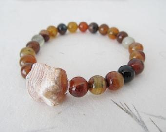 Agate bracelet, yoga bracelet, raw gemstone bracelet