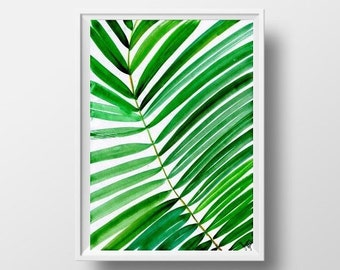 Tropical leaf watercolor painting coconut palm tree nature abstract green plant wall art botanical print poster 5x7 8x10 11x14 24x36