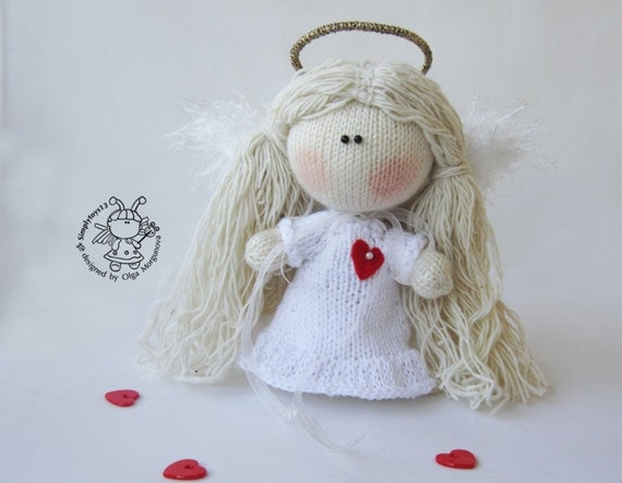 Pebble doll Angel - knitting pattern (knitted round ...