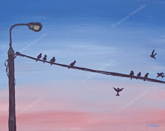 Acrylic painting birds on a wire silouhettes lamp blue and pink sky canvas dawn wall art home decor decoration
