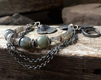 Raw Silver, Labradorite Bracelet, Rustic Bracelet, Sterling Bracelet, Charm Bracelet, Multistrand Bracelet, Boho Bracelet