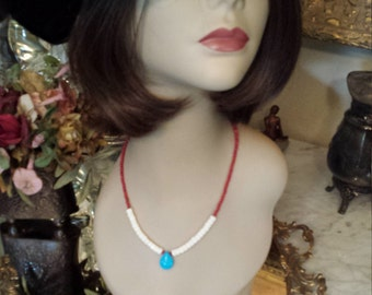coral, turquoise and shell necklace