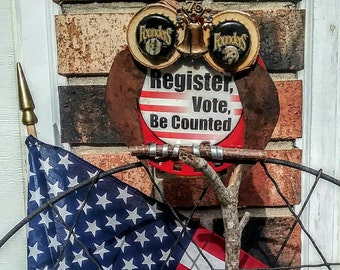 Voter Owl Found Art Steampunk Handmade in USA named VOTER GEORGE Upcycled Bird Recycled Patriotic America Voter Registration Pin ReNew Bots