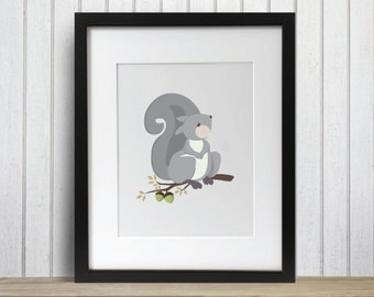 Little Gray Squirrel Woodland Friend Print