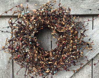 Fall Wreath, Pip Berry Wreath, Candle Wreath, Candle Ring, Fall Centerpiece, Country Decor, Primitive Decor, Rustic Decor, Free Shipping