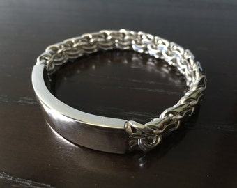 Mens .925 Sterling Silver Thick and Heavy Military Plate Chinese style bracelet handmade.