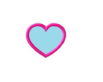 Heart applique embroidery machine design instant download  2, 3, 4, 5 inches wide
