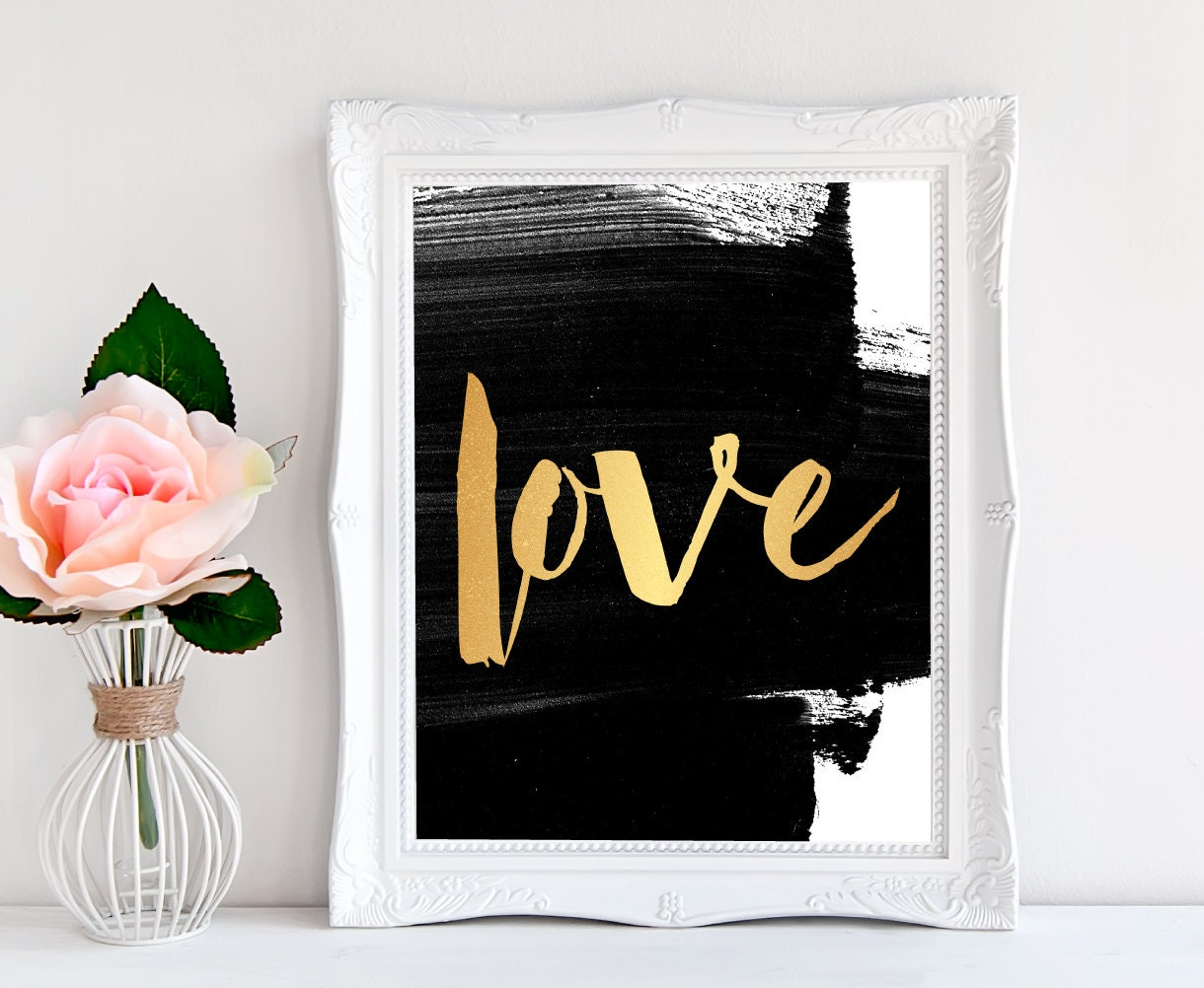 Etsy Gold Wall Decor : Faux gold love print home decor wall one word