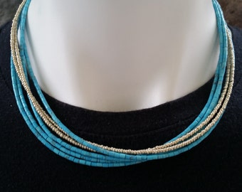 Turquoise and Gold Multi Strand Necklace