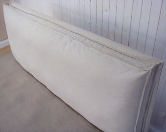 Non-Tufted Wool-Filled Headboard Cushion / Washable Cover