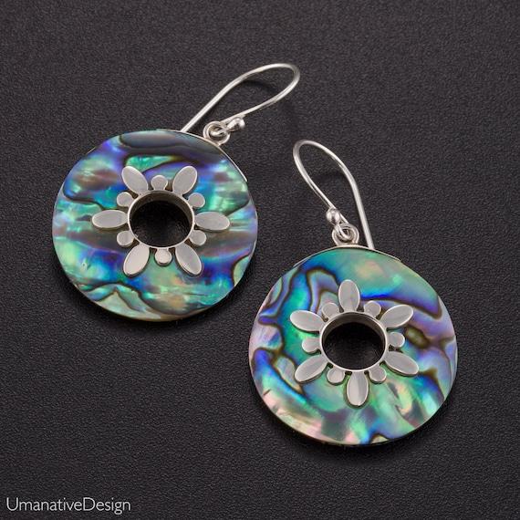 Abalone earrings. paua earrings. abalone silver earrings. Abalone earrings silver. abalone jewelry. boho jewelry. ocean earrings.
