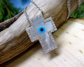Sterling Silver Mother of Pearl Swarovski Crystal Protective Eye Cross Necklace