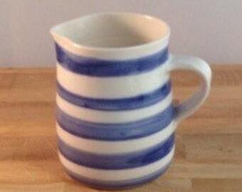 Handmade Porcelain Milk Jug in Royal Blue Stripes