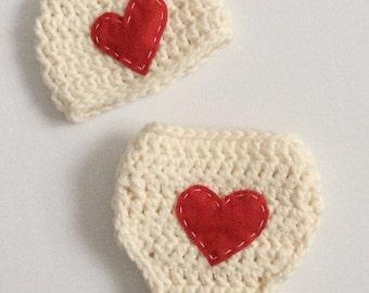 Newborn Valentine Photo Prop Diaper Cover Set