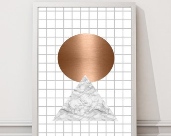 Copper and marble grid print