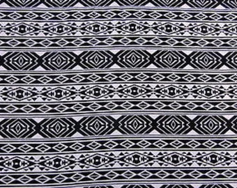 100% Rayon with Black & White Geometric Pattern Fabric by the yard