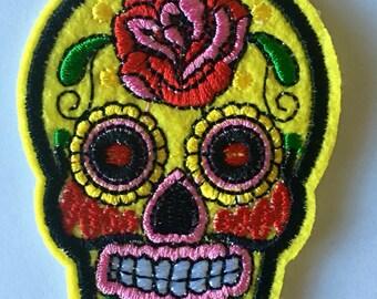 Yellow sugar skull applique / patch