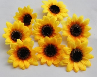 20pcs sunflower blossom 7 cm silk Helianthus head  turnsole tournesol Sonnenblume blossom yellow/pink/rose/ red color  - SF001
