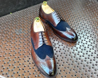 Hand Made Men's Two Toned Wingtip Brogue Derby Shoes