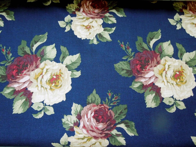 Vintage Ralph Lauren Fabric Large Cabbage Roses Navy Blue Floral  # Muebles Ralph Lauren Espana