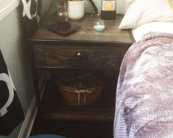 Pair of Iron and wood night stands with outlet/usb hub embedded in the sides