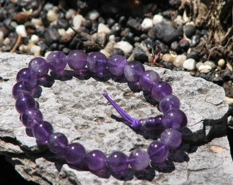 Amethyst Polished Crystal Bracelet -  Power, Protective, Wisdom, Cleansing, Metaphysical, Jewellery, Purple, New Age