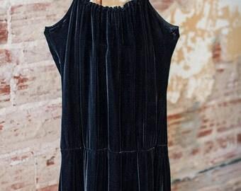 90s Black Velvet Dress Size Small