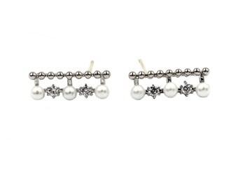 Mini pearl crystal earrings
