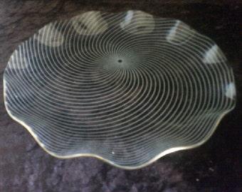 Glass Plate Blue/Grey Spiral Design