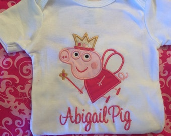 Personalized Peppa Pig Fairy Happy Birthday age embroidered name birthday shirt biy/girl/baby applique birthday shirt sizes 6 month - 7/8