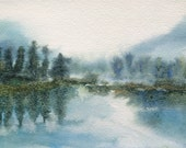 Misty Landscape, Misty trees, mountain lake, North Cascades, Northwest, landscape watercolor, Pacific Northwest, landscape painting