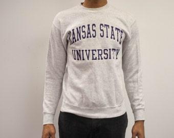 SALE Kansas State University  Vintage Grey Sweatshirt Size M