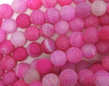 "5Strands Pink Round Agate Beads Frosted Frizzling 8mm( 3/8"")"