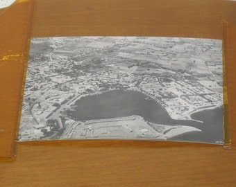 aerial black and white photo of  port site in Kos Greece. 1950's. Dimensions 21,5 X 17,5 cm.