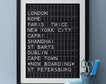 Airport Destination Print. Monochrome, personalised-bespoke Destination Digital Print gift for him her anniversary, aiport, departures