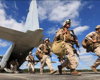 24x36 Poster . Marines Deplane A Kc-130 Hercules At Fort Pickett, Virginia