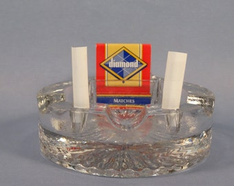 SALE!  REDUCED PRICE!  Heavy Glass Ashtray with Matches and Cigarette Holders