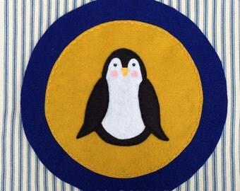 "Theta Phi Alpha Sorority Pillow Cover--penguin gold/royal blue felt applique 18"" square.  Greek life decor"