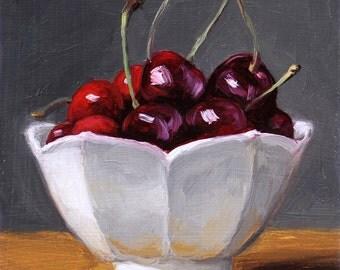Cherries Still Life Painting, original fruit painting by Aleksey Vaynshteyn