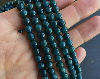 Apatite 6mm Round Natural Teal Apatite Gemstone Beads Grade A Full Strand