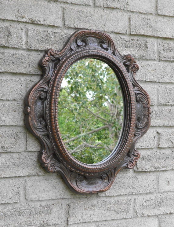 Items similar to wall oval mirror with oil rubbed bronze Oval bathroom mirrors oil rubbed bronze