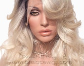 Dark root blonde lace front wig Champagne ombre blonde lace wig celebrity lace front wig  wig Kardashian lace front wig drag queen lace wig