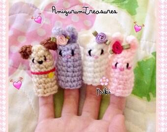 Set of 4: Crochet finger puppets, kawaii puppets, bunnys, bear, dog finger puppets, cute finger puppets for little fingers
