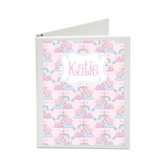 Personalized Binder Cover Set with Front & Back Covers and Spine inserts - Printable - Dress up Your Three Ring Binder! Pretty Unicorn