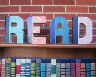 READ Reader's Digest Book Monogram Letters  - Back to School Decoration - READ Gift- Book Lover's Gift - Library Gift - Home Decor
