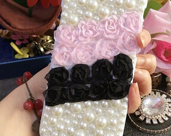 Bling Pearls Luxury Lovely Fashion Sparkles Charms Pink Black Rose Lace Crystals Rhinestones Diamonds Gems Hard Cover Case for Mobile Phone