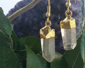 Quartz Earrings, Quartz Point Earrings, Gold Dipped Raw Quartz Earrings