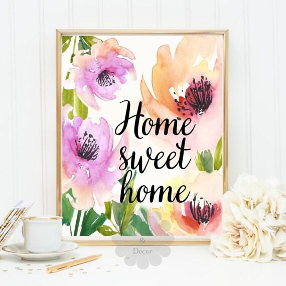 Home Sweet Home Quote Art Print Home Wall Decor Nursery Wall