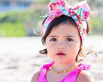 SWEET MELON Gorgeous Wrap- headwrap; fabric head wrap; watermelon head wrap; newborn headband; baby headband; toddler headband; head wrap