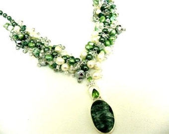 "Statement Necklace with Peridot, Cultured Pearl, Sterling Silver, Saraphinite, Glass Pearls, and Crystal in Greens and Cream, ""Rainsong"""
